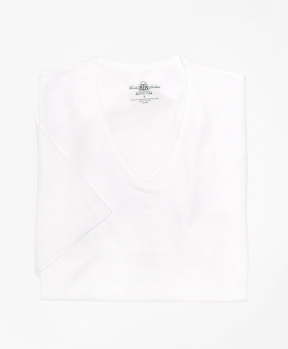 Country Club Mercerized Cotton V-Neck White