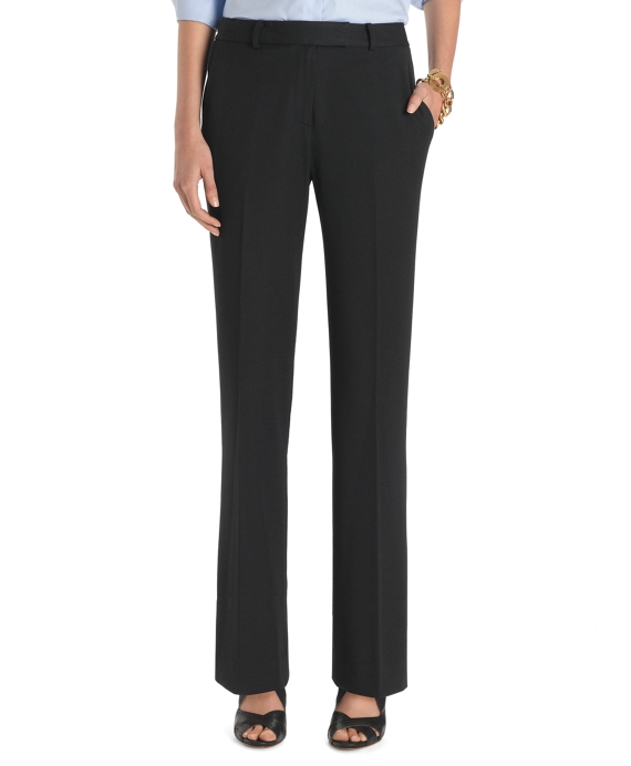 Plain-Front Caroline Fit Fluid Stretch Dress Trousers Black