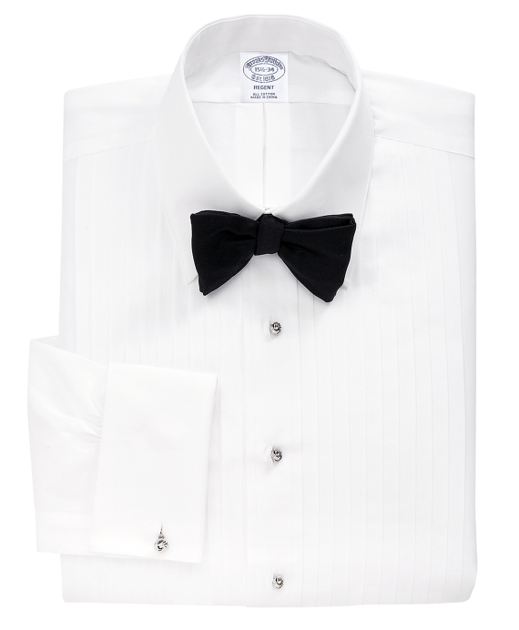 Regent Fit Ten-Pleat Tennis Collar Tuxedo Shirt White