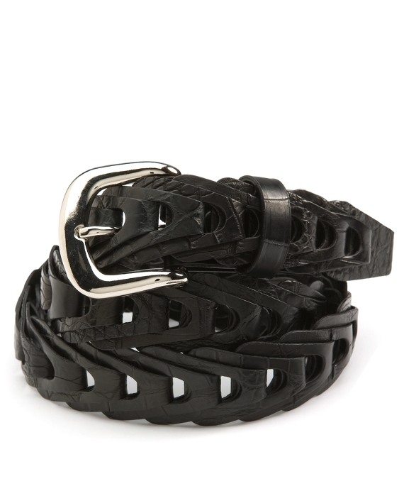 Braided Crocodile Belt Black