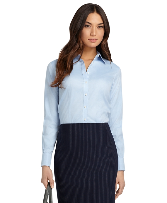 Petite Non-Iron Fitted French Cuff Dress Shirt Blue