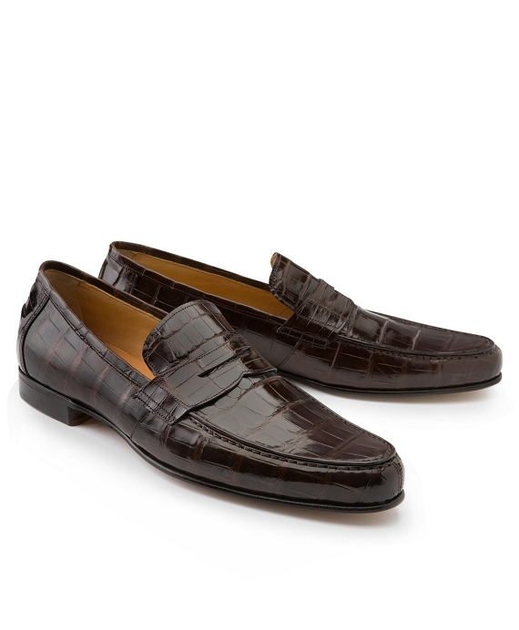 Alligator Penny Loafers Brown