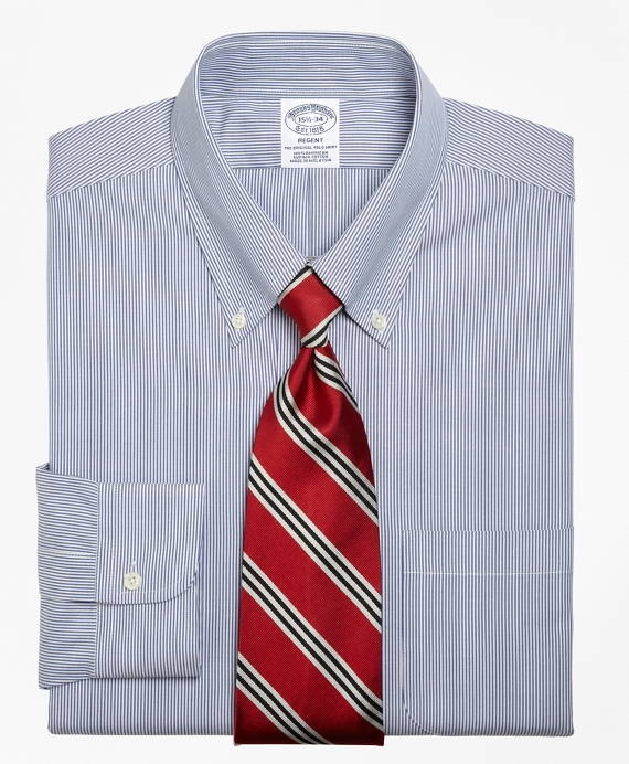 Regent Fitted Dress Shirt, Stripe Blue