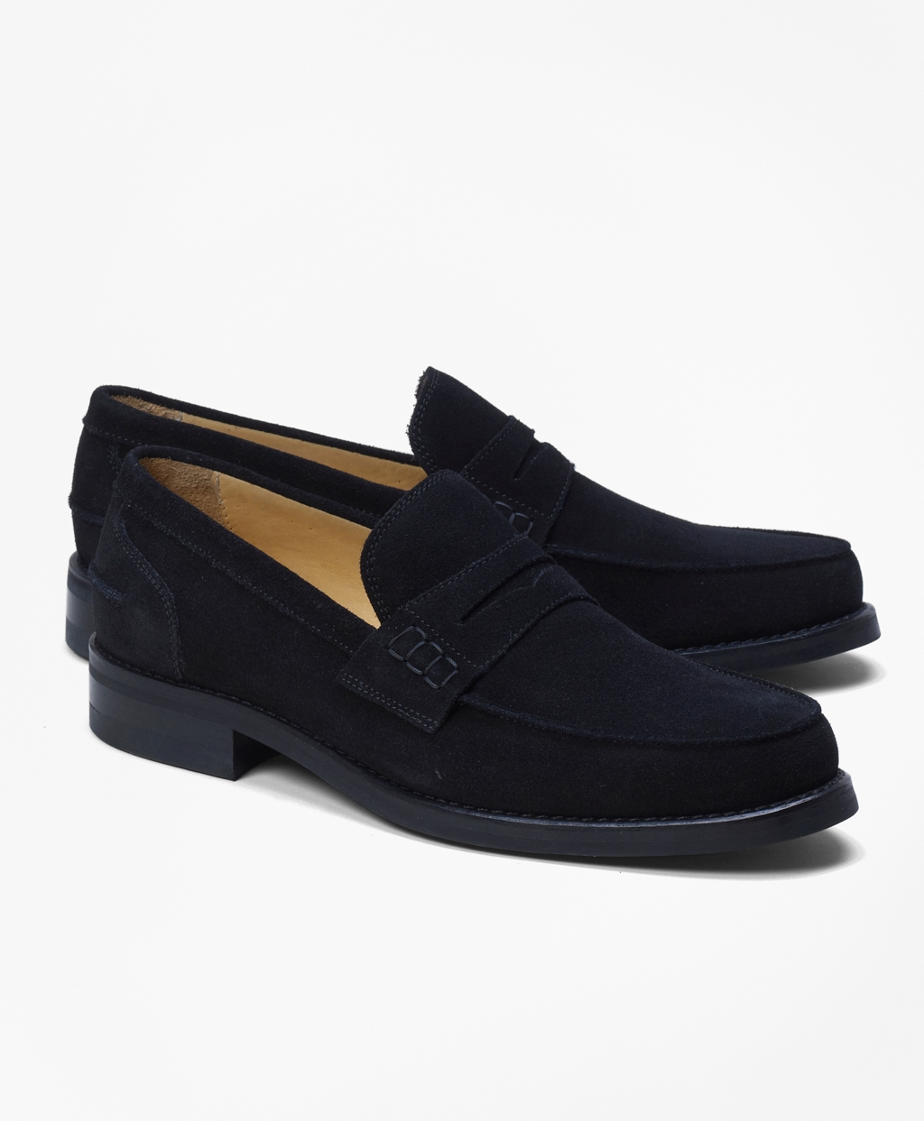 Mens Sporty Suede Penny Loafers Brooks Brothers D Island Shoes Casual Comfort Black