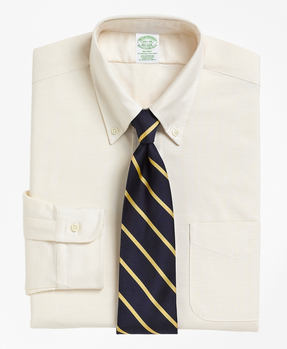 Milano Slim-Fit Dress Shirt, Button-Down Collar Ecru