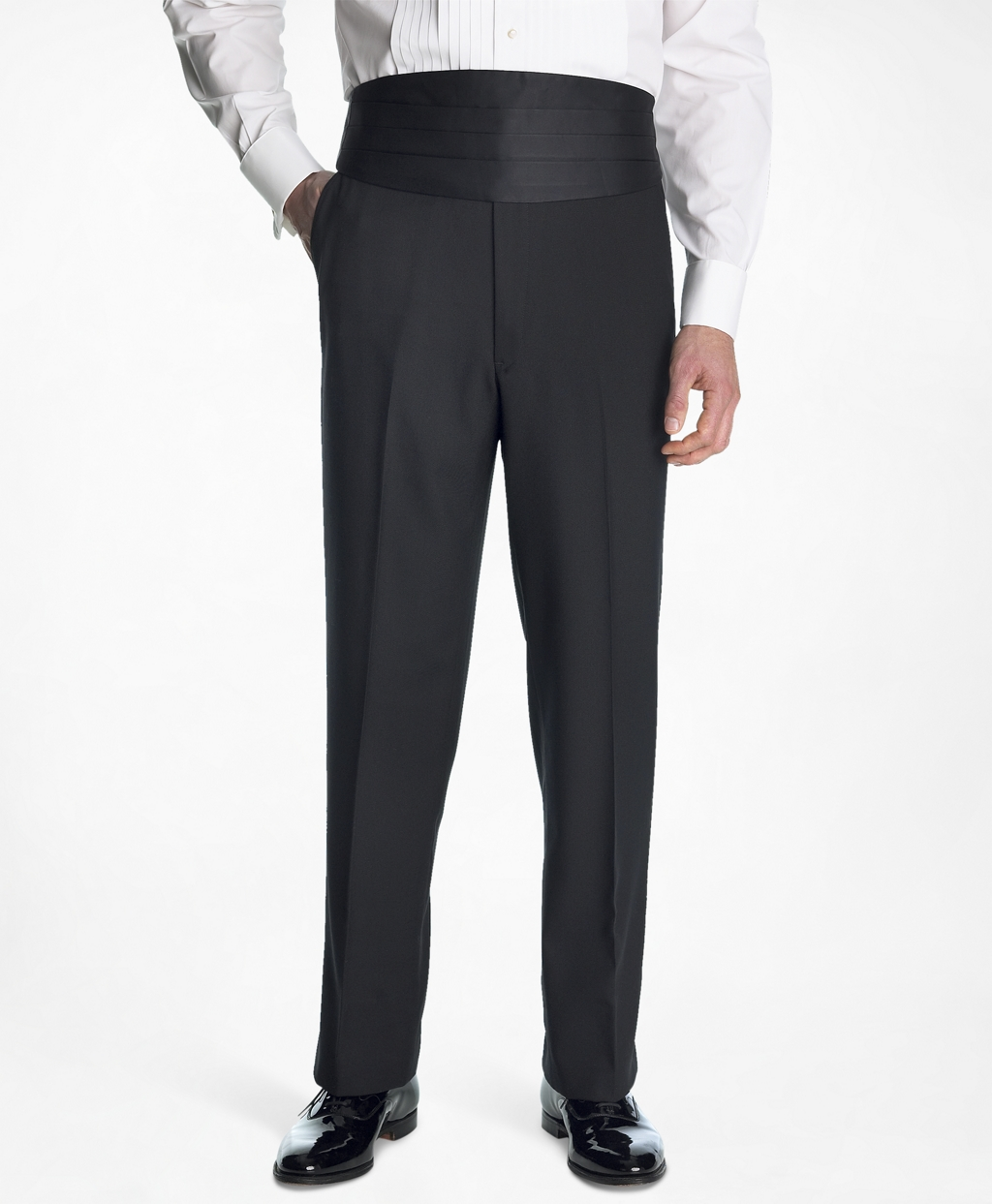 Edwardian Titanic Men's Formal Tuxedo Guide Brooks Brothers Mens 1818 Plain-Front Tuxedo Trousers $300.00 AT vintagedancer.com