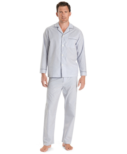 Wrinkle-Resistant Blue Stripe Pajamas
