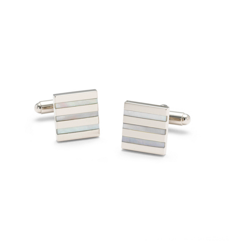 Square Mother-of-Pearl Stripe Cuff Links