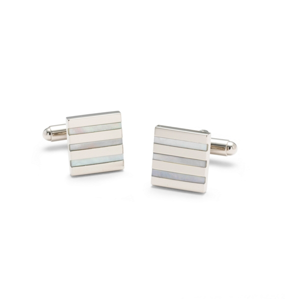 Square Mother-of-Pearl Stripe Cuff Links Blue