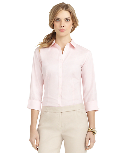 Petite Non-Iron Fitted Three-Quarter-Sleeve Dress Shirt