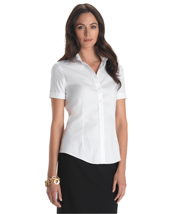 Women 39 s petite non iron tailored fit short sleeve white for Ladies non iron shirts