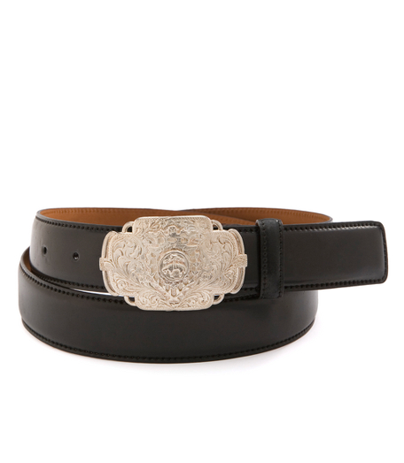 Cordovan Belt with Etched Buckle