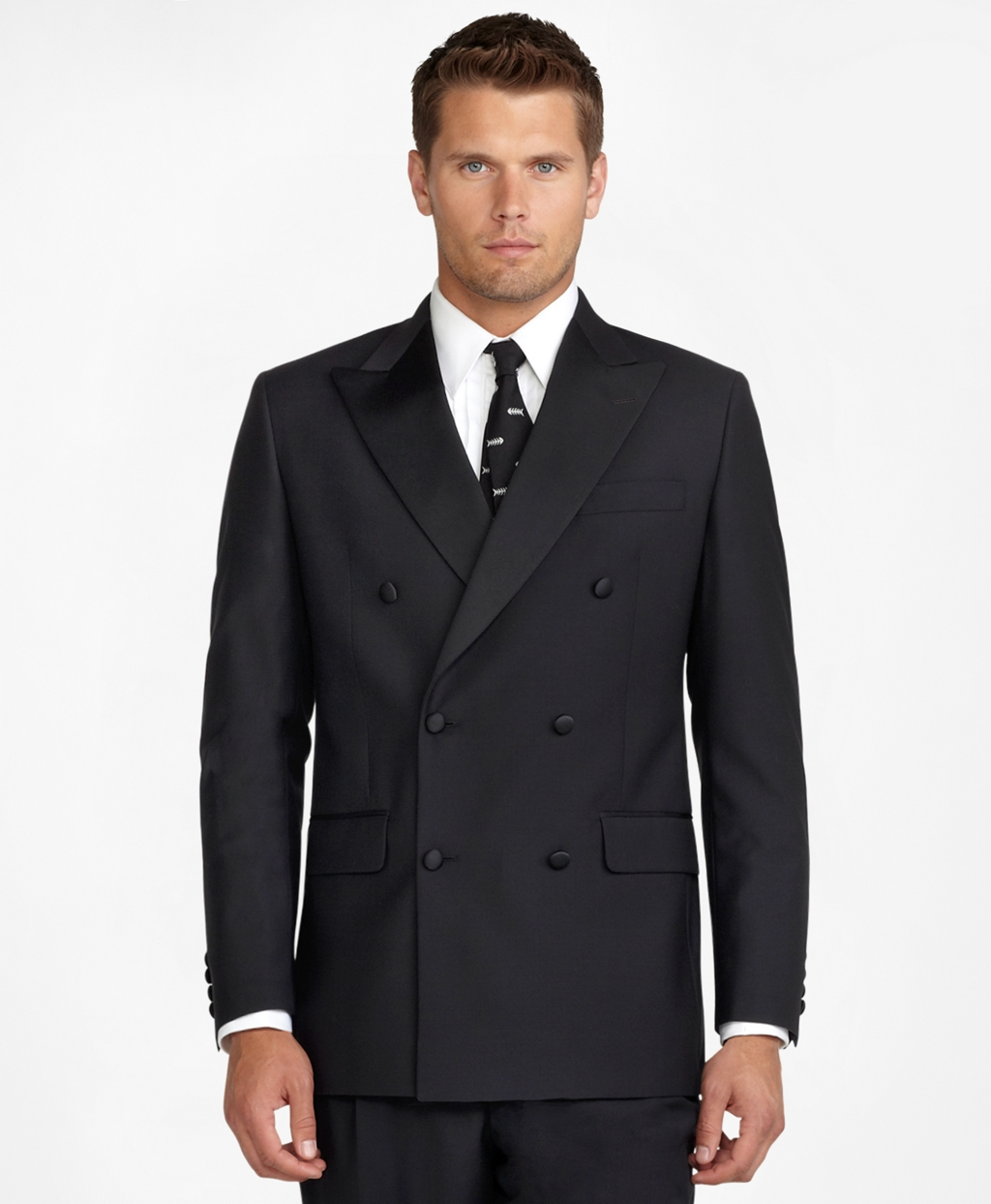Men's Vintage Style Suits, Classic Suits Brooks Brothers Mens Double-Breasted Tuxedo Jacket $449.00 AT vintagedancer.com