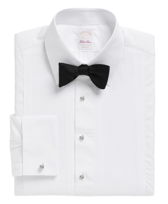 Golden Fleece® Madison Fit Swiss Pleat Tennis Collar French Cuff Tuxedo Shirt White