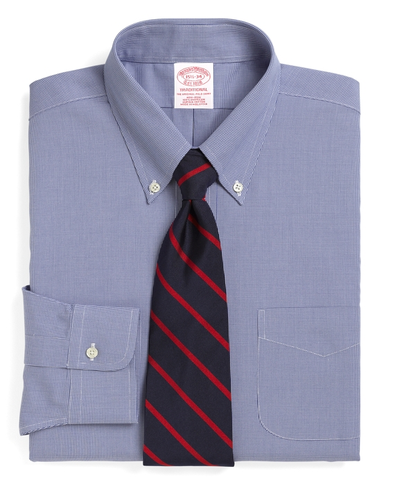 Traditional Relaxed-Fit Dress Shirt, Non-Iron Houndstooth Royal Blue