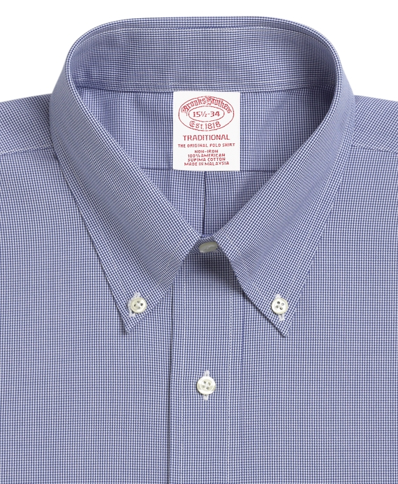 Brooks Brothers Mens Houndstooth Plaid Regent Fit Non Iron Dress Shirt Blue Multi