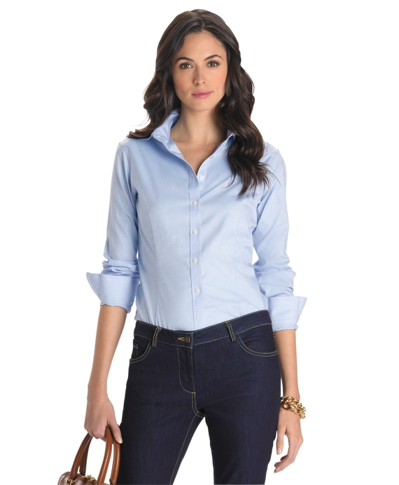 Non-Iron Tailored-Fit Dress Shirt Blue