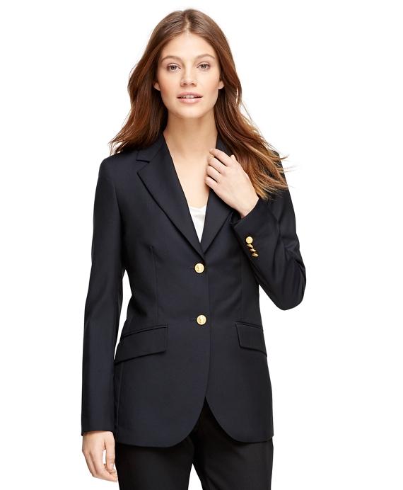 Petite Loro Piana® Classic Fit Two-Button Blazer Navy