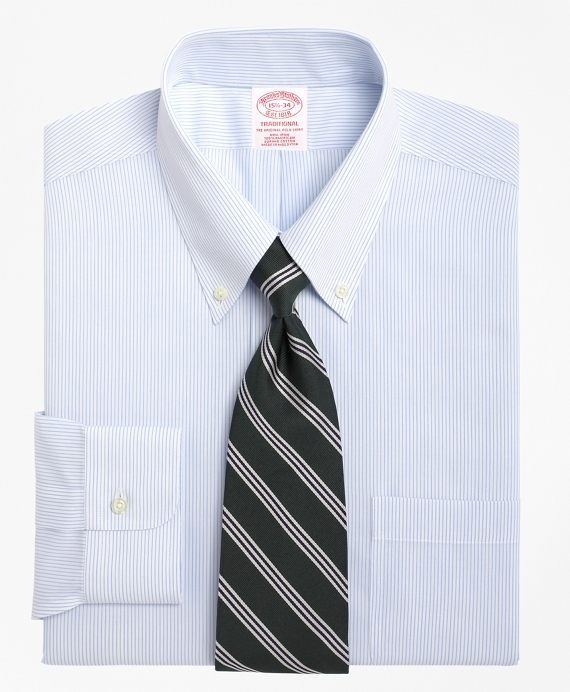 Traditional Relaxed-Fit Dress Shirt, Non-Iron Mini Pinstripe Blue