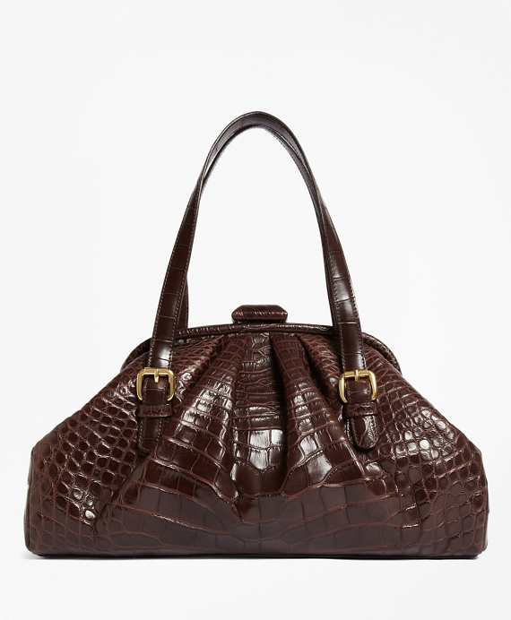 Alligator Soft Frame Bag Matte Brown