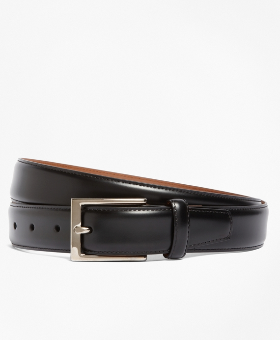 Silver Buckle Leather Dress Belt Black