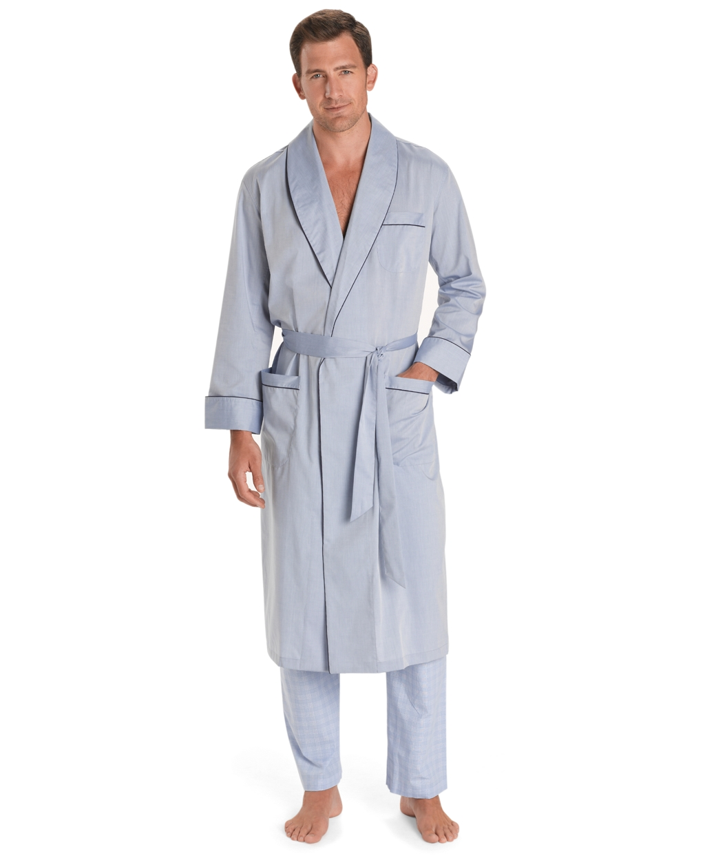Men s Wrinkle-Resistant Blue Chambray Robe  1867c02f7