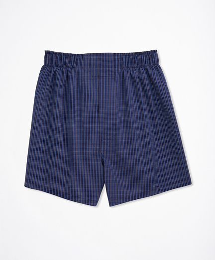Boys Blue Plaid Full Cut Boxers