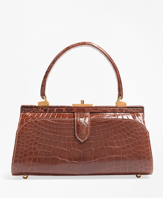 Glazed Alligator Frame Bag Cognac