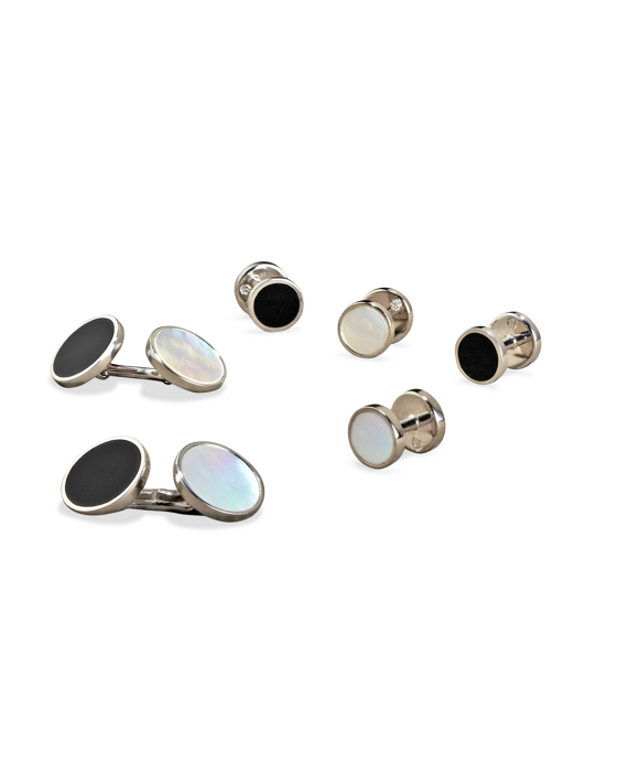 Reversible Stud Set Black-White-Silver
