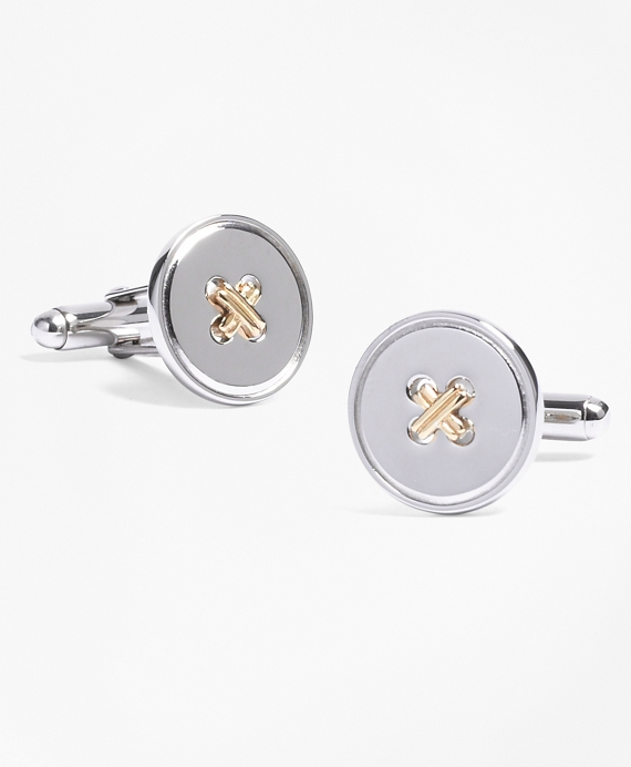 Classic Button Cuff Links Sterling Silver