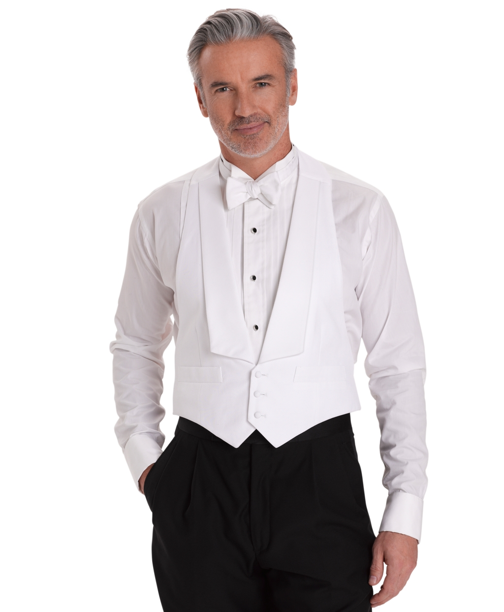 1920s Fashion for Men Brooks Brothers Mens White Cotton Pique Tuxedo Vest $225.00 AT vintagedancer.com