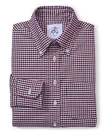 Black Fleece Long-Sleeve Button-Down Mini Check Shirt