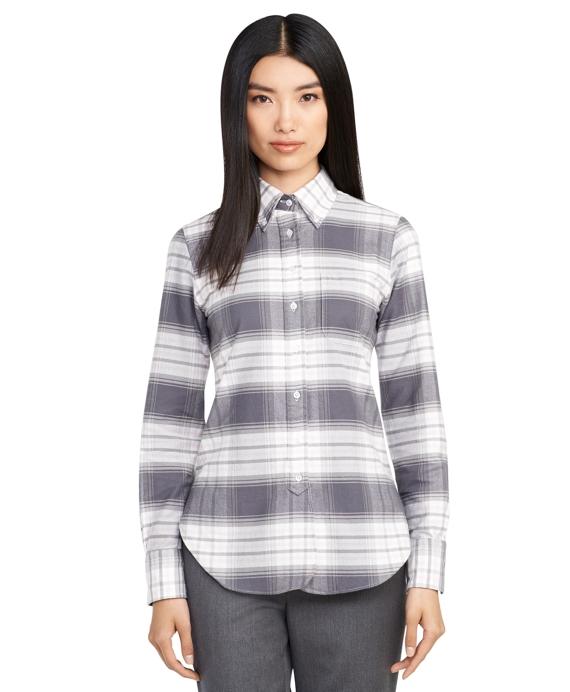 Plaid Button-Down Shirt Grey