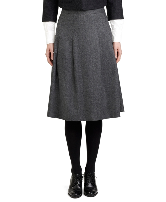 15f04fe0471816 Women's Black Fleece Wool Pleated Skirt