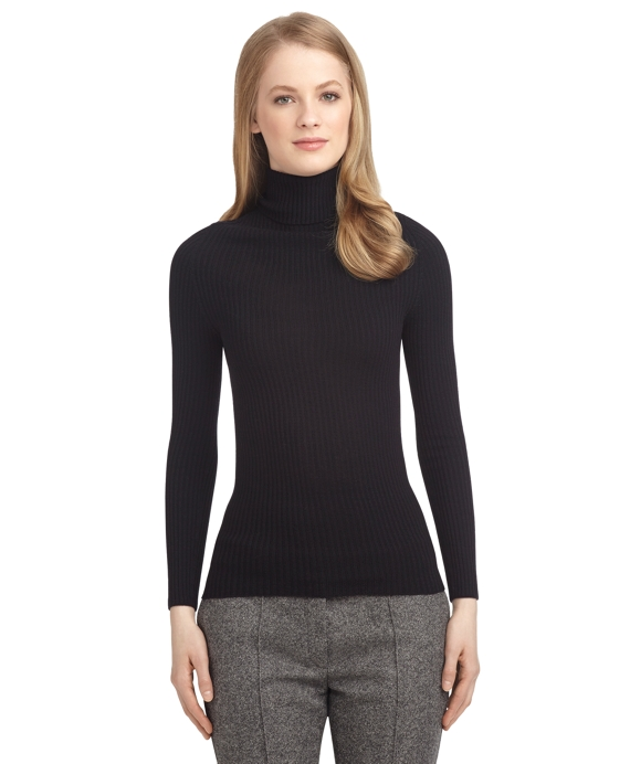 Women'S Navy Blue Turtleneck Sweater 17