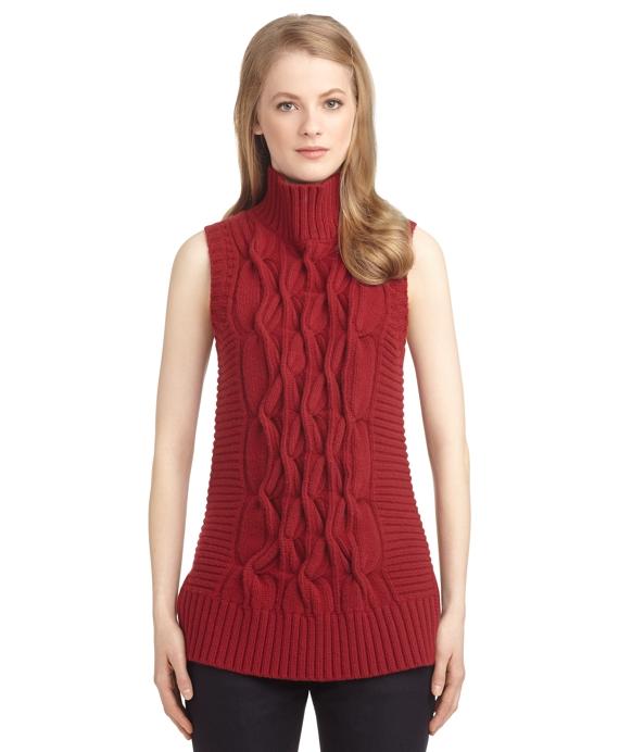 Womens Black Fleece Sleeveless Cable Knit Turtleneck Sweater