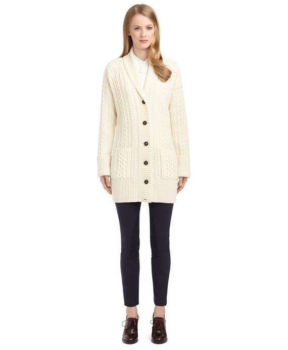 Women s Black Fleece Shawl Collar Cable Knit Cardigan  0288d9c6c