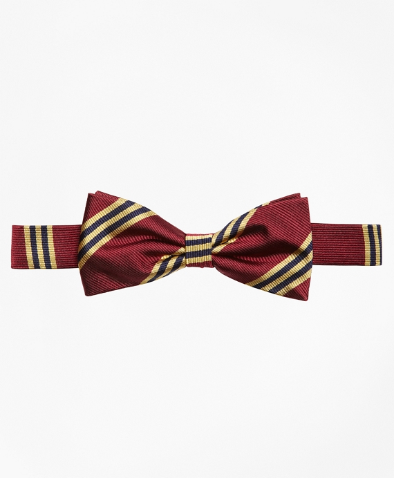 Boys BB#1 Stripe Bow Tie Burgundy
