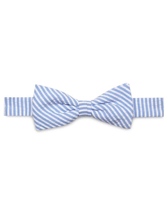4dcd9bc58436 Stripe Seersucker Pre-Tied Bow Tie - Brooks Brothers