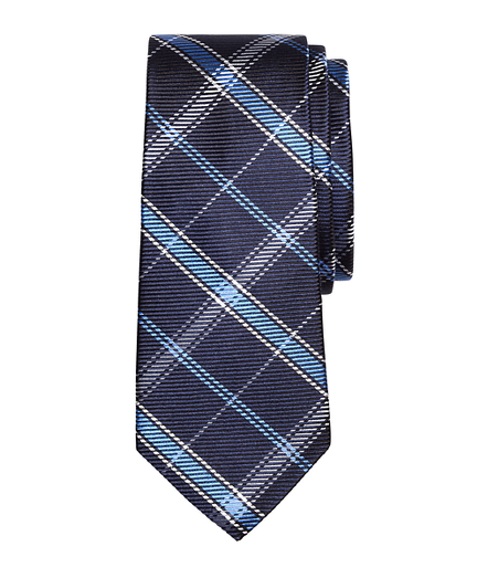 Boys Windowpane Plaid Silk Tie