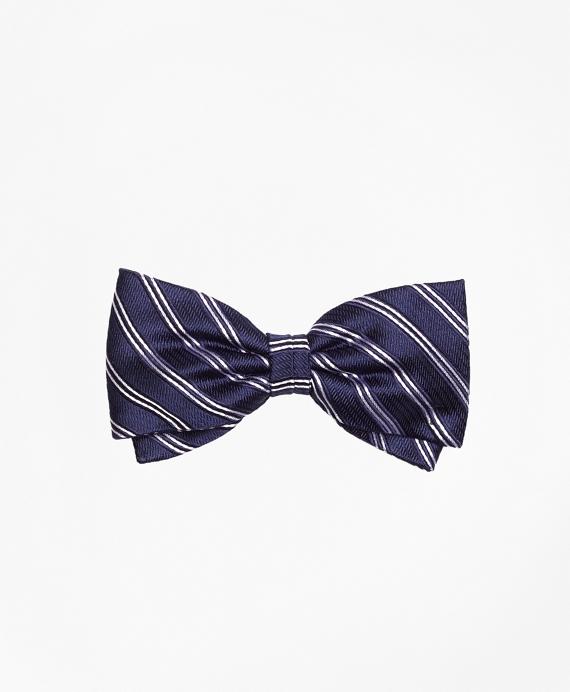 Boys Framed Narrow Stripe Pre-tied Bow Tie Navy