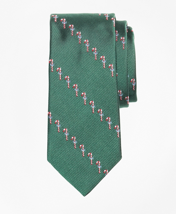 Boys Candy Cane Print Tie Green