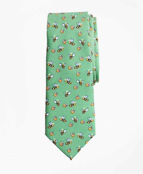 Boys Bee and Honey Print Tie Green