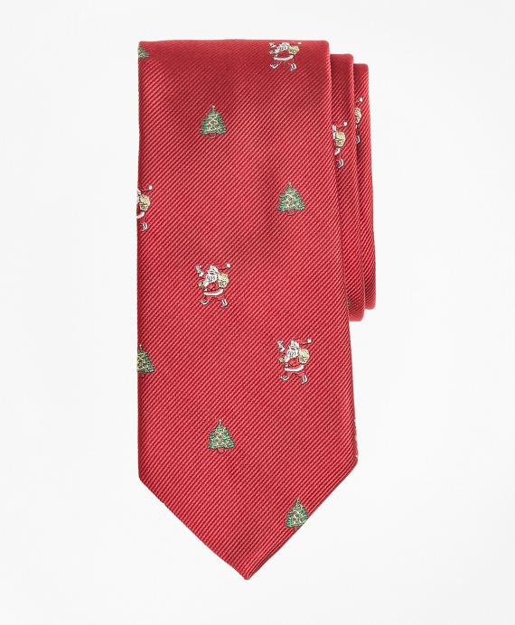 Boys Santa and Christmas Tree Print Tie Red
