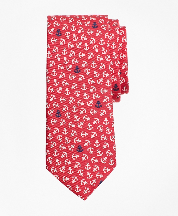 Boys Tossed Anchor Print Tie Red