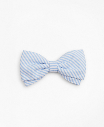 Boys Seersucker Pre-Tied Bow Tie