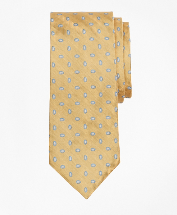 Boys Herringbone Oval Print Tie Yellow