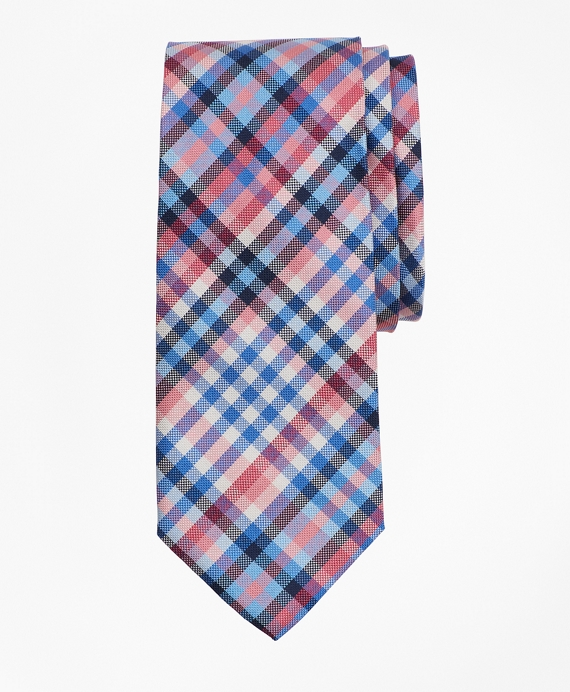 Boys Multi Plaid Tie Blue-Pink