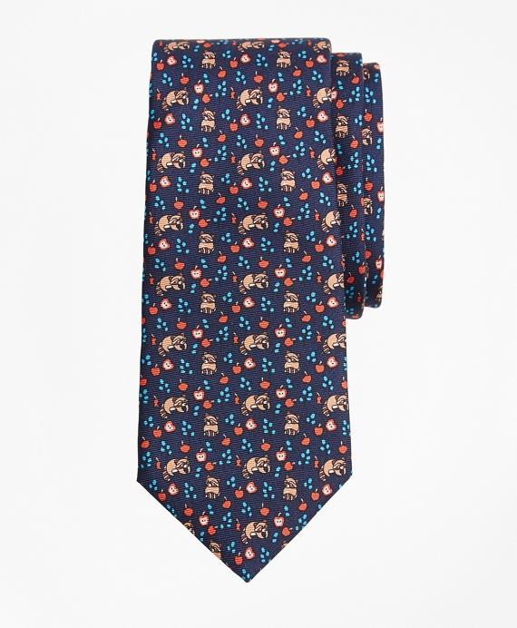 Boys Raccoon Print Tie Navy