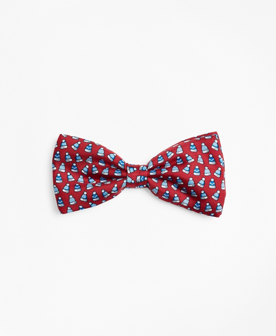 Boys Winter Hat Pre-Tied Bow Tie Red